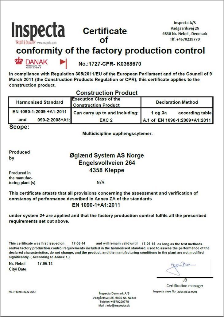Oglaend System As Has Been En 1090 1 Certified Glnd System