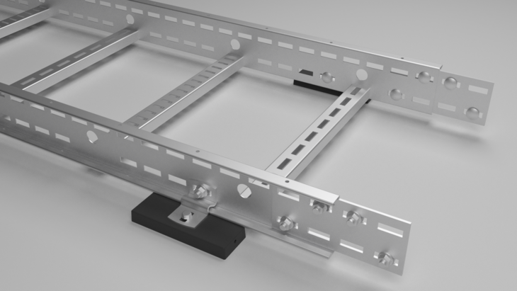 Cable ladder mounted on encapsulated support magnet