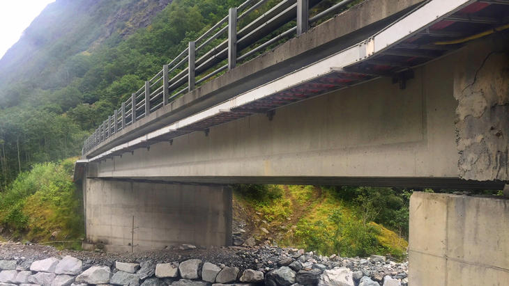 FRP Cable Ladder installed under a bridge.