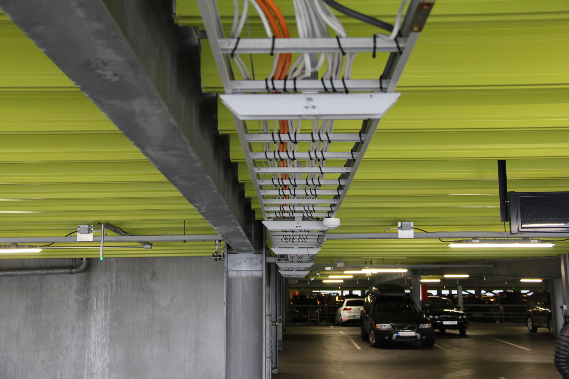 Cable ladders in FRP installed at Airport Sola parking facility.